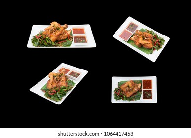 Different camera view Fried Chicken Thai style. isolated on black.