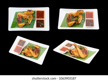 Different camera view Grilled Chicken Thai style. isolated on black.
