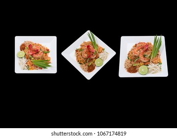 Different camera view Pad thai shrimp is noodle food Thai Style. isolated on black.