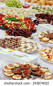 Different Catering Services Food On Outdoor Party Table