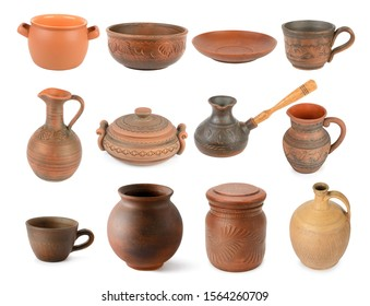 Different ceramic products isolated on white background. Big size