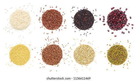 Different cereals and beans shaped in the form of a circle. Overhead close up view, isolated on white background