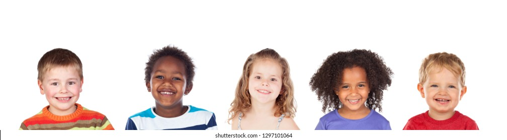 Different children laughing isolated on a white background