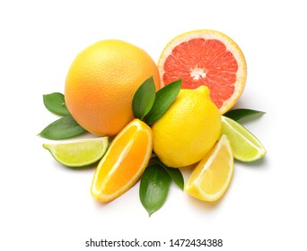 Different citrus fruits on white background