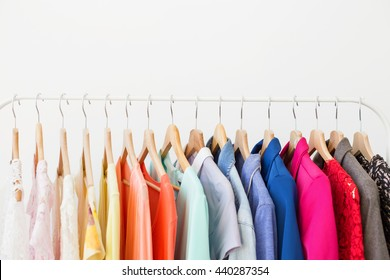 Different clothes on the rack