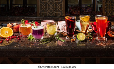 different cocktails in the bar