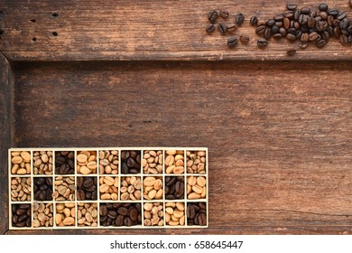 Different coffee beans in a rectangular box.