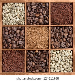 different coffee forms in wooden box (raw and roasted beans, instant coffee powder)