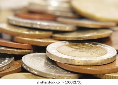 Different coins taken closeup.Soft focus.