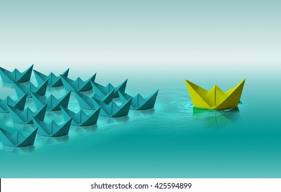 Different color paper boat, leadership concept