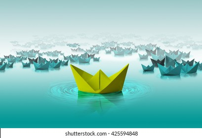 Different color paper boat, Different thinking,leadership, concept
