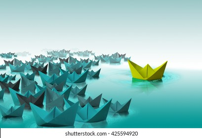 Different color paper boat,different thinking, leadership concept
