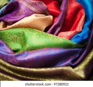 Different color and texture fabrics closeup