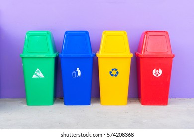 Different Colored Bins For Collection Of Recycled Materials