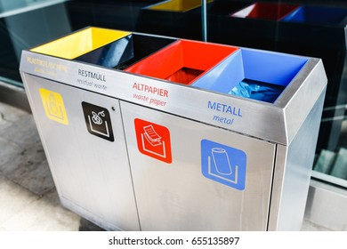 Different Colored Bins For paper, plastic and metal, Recycle concept