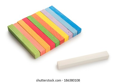 Different colored chalk painting on white background