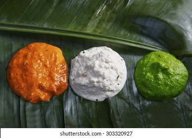 Different colored chutney