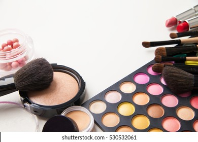Different colored face cosmetics