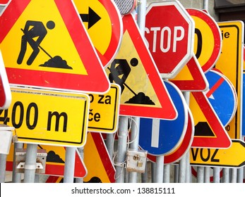 Different colored traffic signs