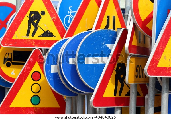 Different colored traffic signs in the warehouse