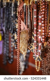Different colored trinkets displayed in the waiting customers