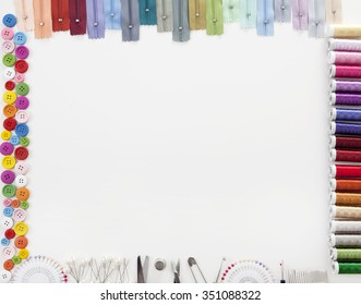 Different colorful accessories to tailor with white space for text in the middle