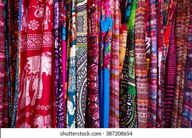 Different colorful fabrics on the market
