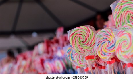 Different colorful lollipops on the market