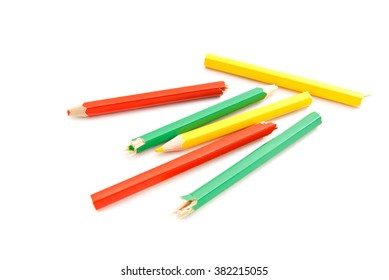different colorful pencils on white background closeup