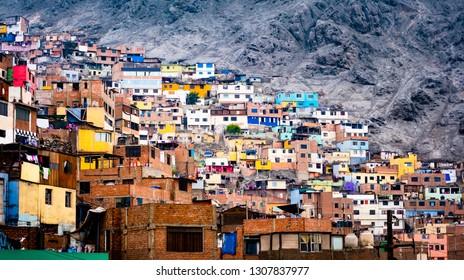 Different colorful slum buildings in Lima, Peru