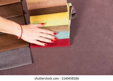Different colors of the fabric palette for tightening furniture
