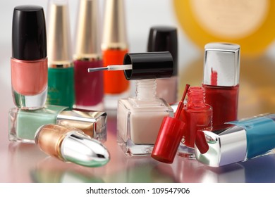 Different colors nail polish bottles