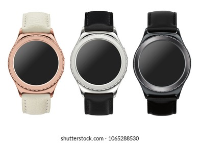Different colors smartwatch isolated on white background. Samsung galaxy gear s2 concept.