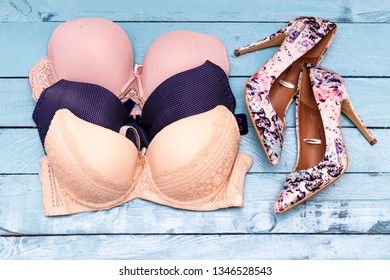 different colors of women's bra and beautiful fancy heels