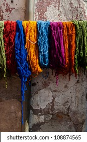 Different colors of yarn at the tanneries