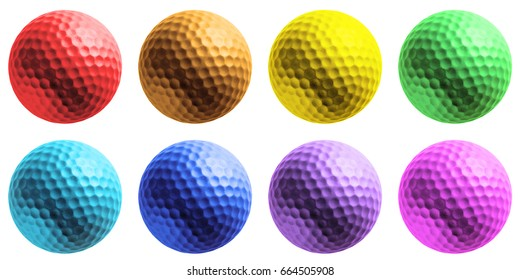 different colour golf ball isolated on white