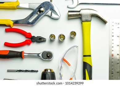 Different construction tools with Hand tools for home renovation on white background maintenance and reparing concept.