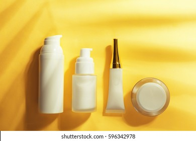Different cosmetic on color background