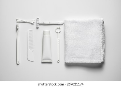 A lot of different cosmetic products for personal care isolated on white. View from above