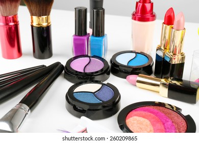 Different cosmetics close up