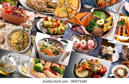 Кухня разных стран. Разнообразные блюда, приготовленные из мяса или овощей