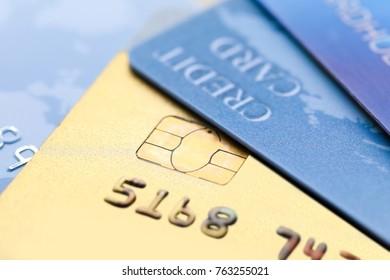 Different credit cards, closeup