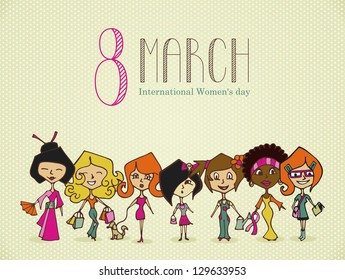 Different cultures women in 8 march Woman Day greeting card.