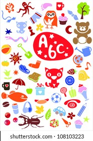 different cute colorful  elements simple figures cutouts. Vector version also available in portfolio