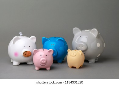Different cute piggy banks on gray background