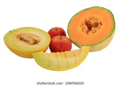 Different cuts of fresh  Cantaloupe and Canary Melon and apples over white background