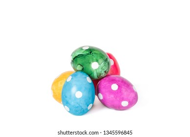 Different decorative Easter eggs isolated on white background