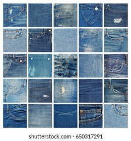 Different denim fabric samples isolated on white background. Collection of jeans textures close-up.