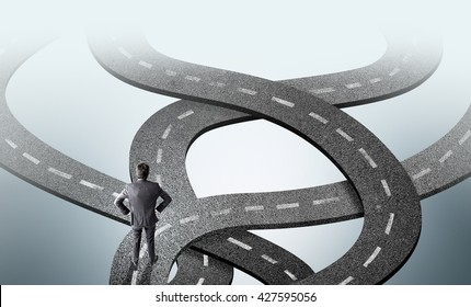 Different direction concept with businessman thinking what road to take on grey background