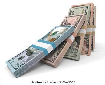 Different dollar bank notes.3D illustration.